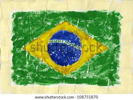 Hand painted acrylic flag of Brazil - stock photo