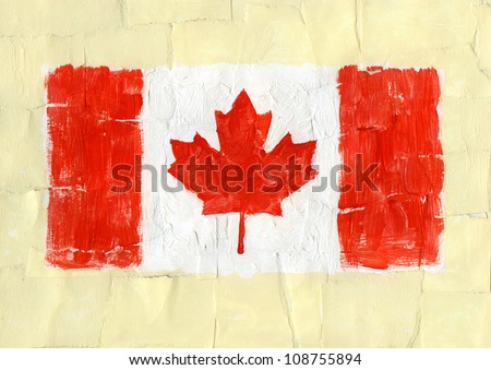 Hand painted acrylic flag of Canada - stock photo