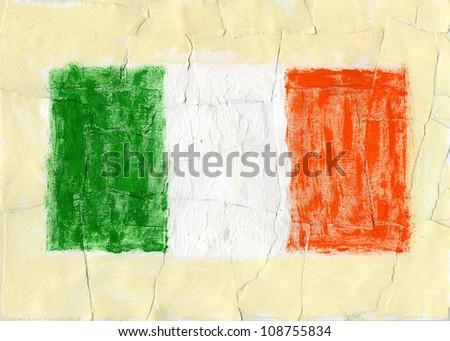 Hand painted acrylic flag of Ireland - stock photo