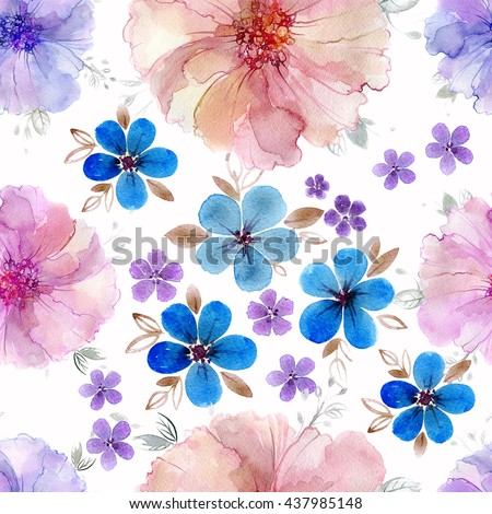 Hand painted artistic texture. Anemone and Periwinkle flowers and leaves. Seamless pattern. Watercolor flowers. Repeating wallpaper design.