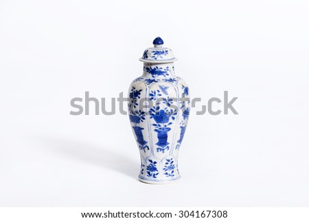 Hand painted asian vase on a white background - stock photo