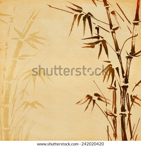 hand painted bamboo. vintage background canvas