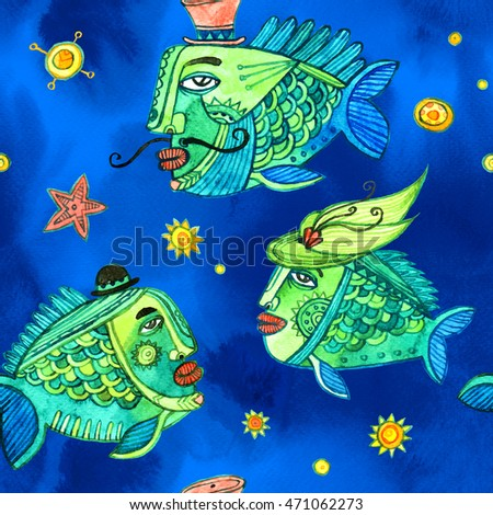 Hand painted characters of fishes on watercolor background. Seamless pattern.