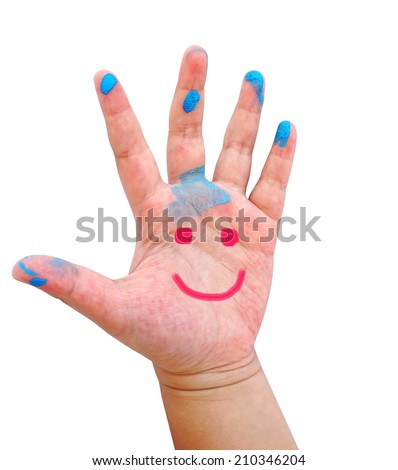 Hand Painted Child. Isolated on white background (smiling hand) - stock photo