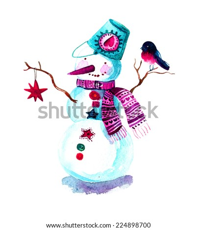 Hand painted Christmas background with snowman and bullfinch. Watercolor raster illustration - stock photo