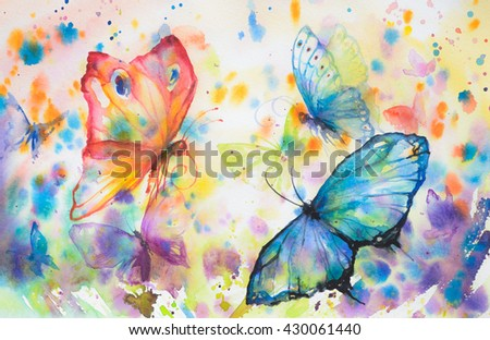 Hand painted colorful background with flying butterflies.Picture created with watercolors.