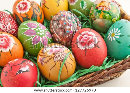 Hand painted colorful decorated eggs for Easter - stock photo