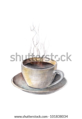 Hand Painted Cup of Coffee - stock photo