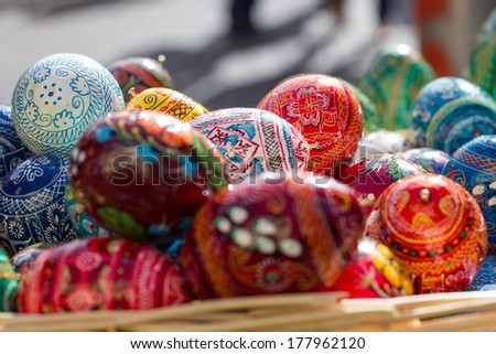 Hand painted easter eggs - stock photo