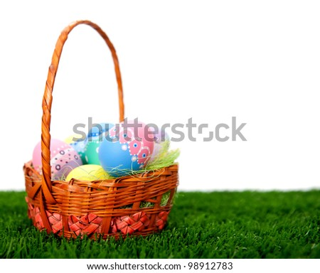Hand painted Easter eggs in a basket