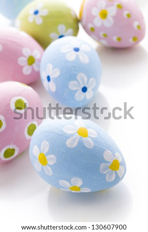 Hand painted Easter eggs wwith rought strokes of the brush.