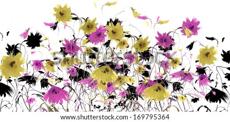 Hand painted field of small wildflowers and chrysanthemums - stock photo