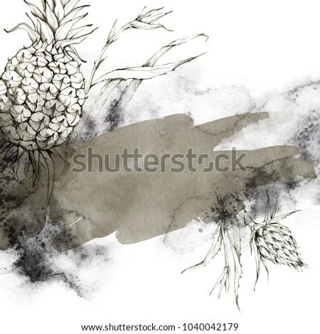Hand Painted Frame Pineapples Leaves Watercolor Stock Illustration ...