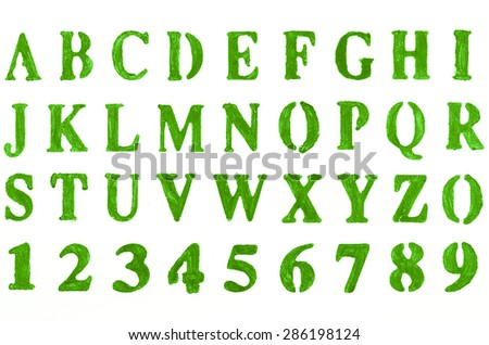 Hand painted green alphabet