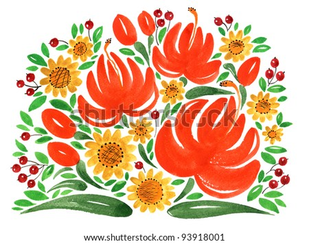hand painted illustration: Bouquet of red flowers