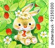 hand painted illustration: Bunny with Strawberry - stock photo