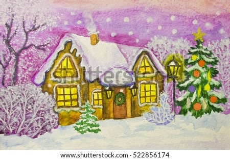 Hand painted illustration for Christmas and New Year holidays, watercolours and white gouache, house in winter forest and Christmas tree.