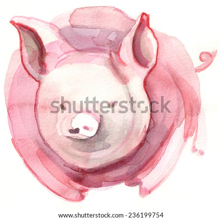 Hand painted illustration of a cartoon piggy - stock photo