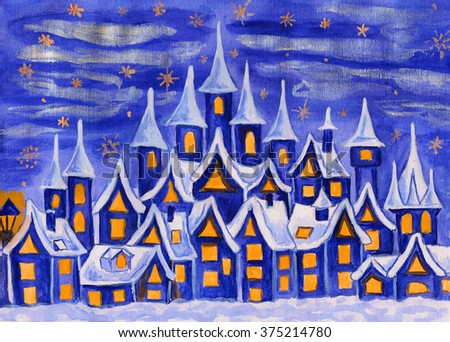 Hand painted illustration, watercolours, fairy town in dark blue colours, can be used as illustration for children's fairy tales, Christmas picture, etc.  - stock photo