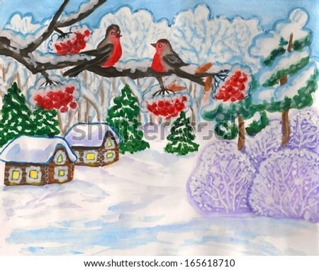 Hand painted illustration, winter landscape with two birds on branch, gouache, can be used as Christmas - New Year holiday picture. - stock photo