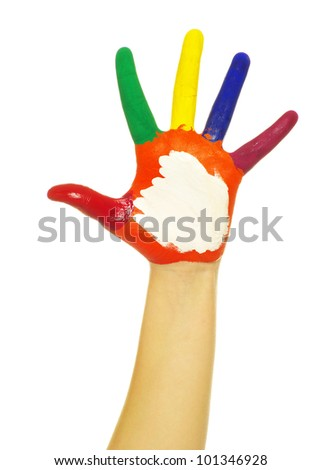 hand painted in colorful paints on white - stock photo