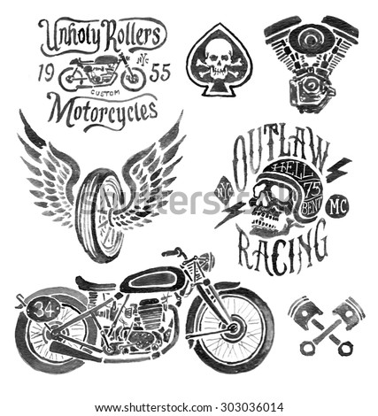 Hand Painted Motorcycle Elements - stock photo