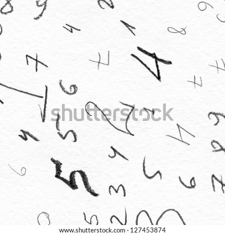 hand painted numbers over white background - stock photo