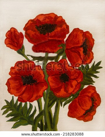 Hand painted picture, oil painting, red poppies on white background, vertical. - stock photo