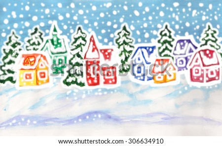 Hand painted picture to Christmas and New Year holidays, watercolor and gouache, winter landscape with fir trees and houses of different colours.  - stock photo