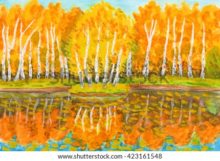 Hand painted picture, watercolours - autumn landscape, orange birch forest with reflection in water and little island with birches. Painted from real landscape in park Sokolniki in Moscow.  - stock photo