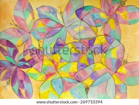 Hand painted picture, watercolours, background of multicoloured buterflies.
