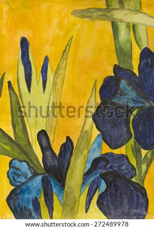 Hand painted picture, watercolours, blue irises on yellow background, copy of old Japanese classical painting. - stock photo
