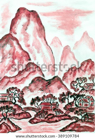 Hand painted picture, watercolours, in traditions of old Chinese art mixed with individual style, landscape with mountains in red colour.  - stock photo