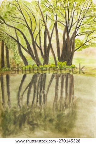 Hand painted picture, watercolours, summer landscape with trees near water and reflection. - stock photo