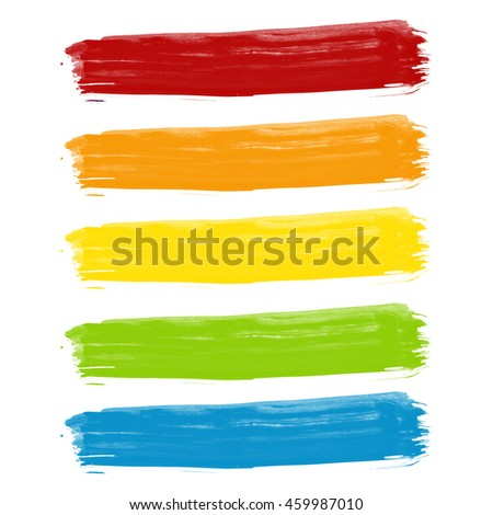 Hand painted rainbow brush strokes on a white background.