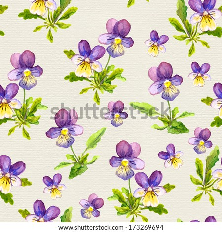 Hand painted seamless pattern with violet viola flowers on paper background - stock photo