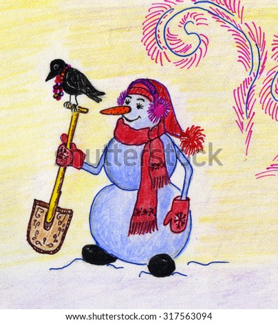 Hand painted snowman - stock photo