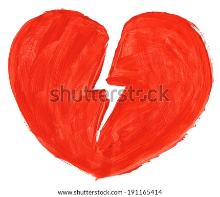 Hand painted symbol of broken love isoloated on pure white background - stock photo