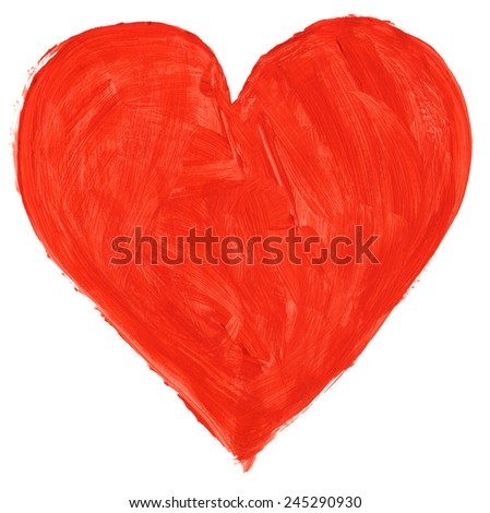 Hand painted symbol of love isoloated on pure white background - stock photo