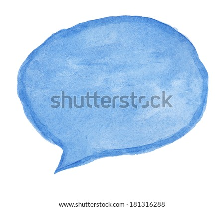 Hand painted talk bubble painted on textured watercolor paper, isolated - stock photo