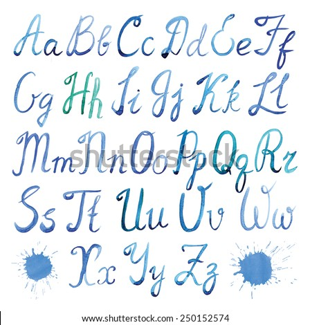 Hand painted watercolor alphabet font. Calligraphy Script. Uppercase and lowercase letters on a white background.  - stock photo