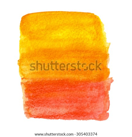 Hand painted watercolor background. Watercolor wash. Bright paint isolated on white.