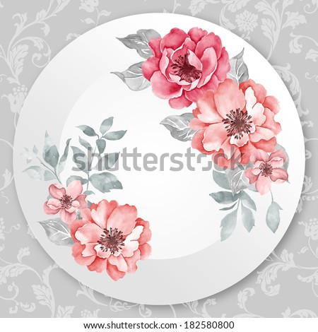 Hand-painted watercolor bouquets on the white plate - stock photo