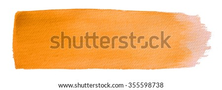 Hand painted watercolor brush orange  stroke abstract background on textured paper