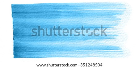 Hand painted watercolor brush stroke abstract blue background