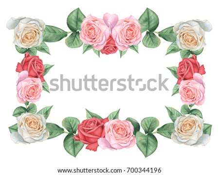 Hand Painted Watercolor Charming Combination Flowers Stock ...