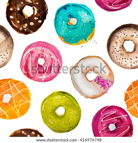 Hand-painted watercolor donuts seamless background - stock photo