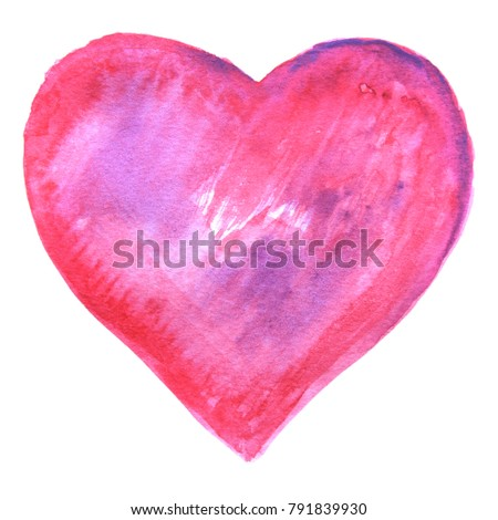 Hand painted watercolor heart isolated on white background, concept love, relationship, art, painting