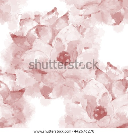 Hand painted watercolor imitation  magnolia seamless pattern background in sepia. Not trace.