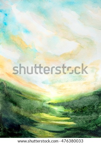 hand painted watercolor landscape background with sky, light over fields of grass